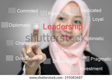 Young Business Women press digital LEADERSHIP button on interface in front of her