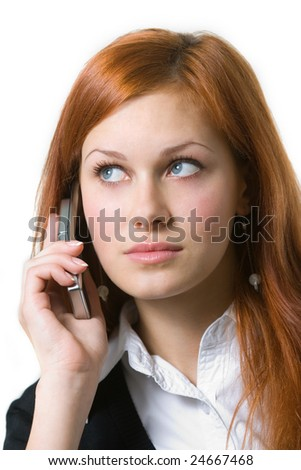 Young business women talking on her cell phone