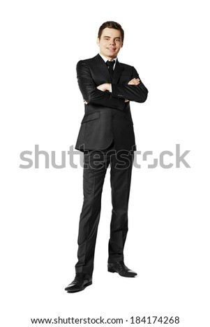 Young businessman against white background - stock photo