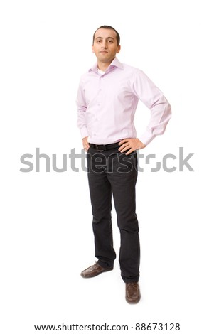 Young businessman against white background