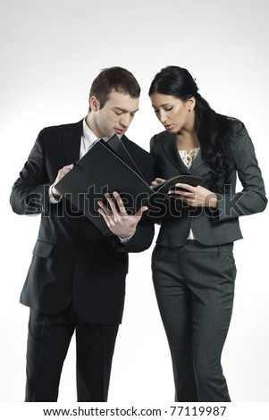young businessman and businesswoman - stock photo