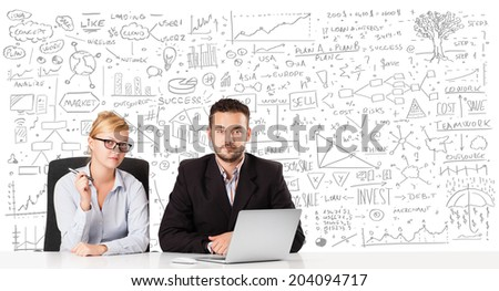 Young businessman and businesswoman planning and calculating with various business ideas