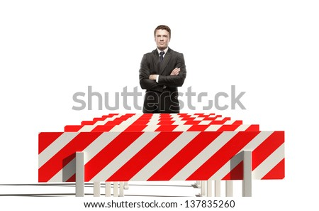 young businessman and sport obstacle - stock photo