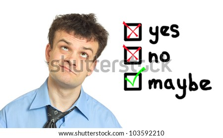 Young businessman appears before the decision on white background - stock photo