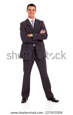 young businessman arms folded on white background - stock photo