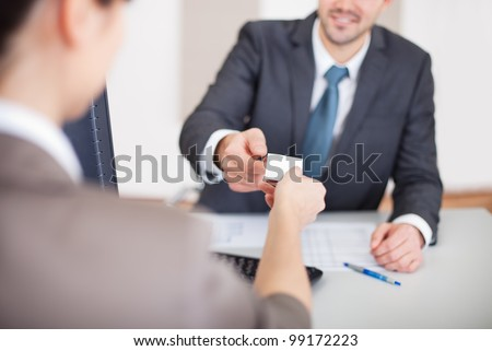 Young businessman at the hiring interview in the office
