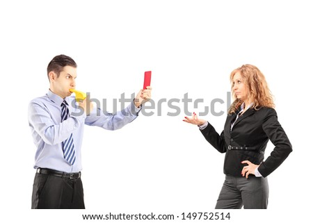 Young businessman blowing a wistle and showing a red card to his boss, isolated on white background - stock photo