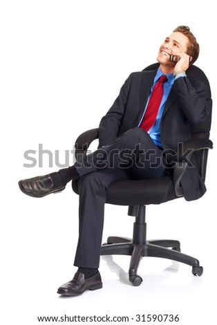 young businessman calling by cellular phone.