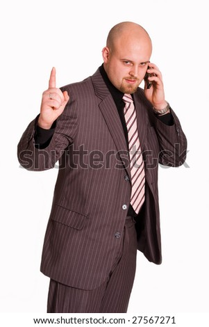 Young businessman calling by mobile phone