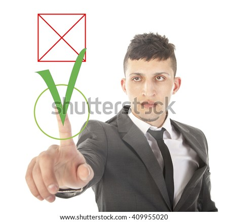 Young businessman choosing yes over no isolated on white background - stock photo