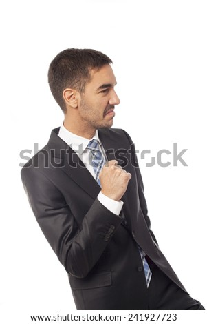 Young businessman dancing