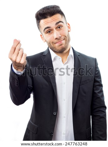 Young businessman doing money sign - stock photo
