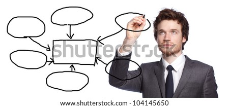 young businessman drawing a flowchart isolated on white - stock photo