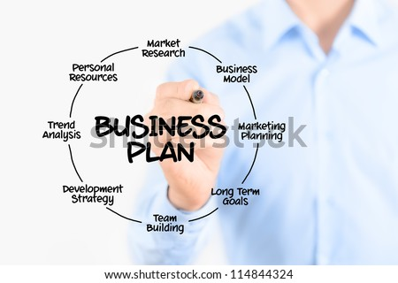 Young businessman drawing business plan concept. Isolated on white.