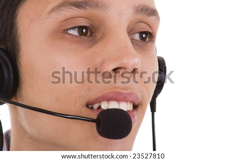 young businessman from a helpdesk service (isolated on white) - stock photo
