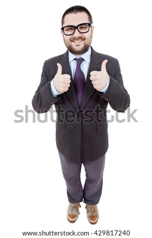 young businessman full body going thumbs up, isolated on white background - stock photo