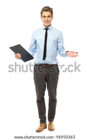 Young businessman gesturing - stock photo
