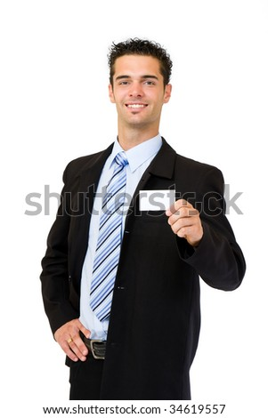 young businessman giving a blank businesscard