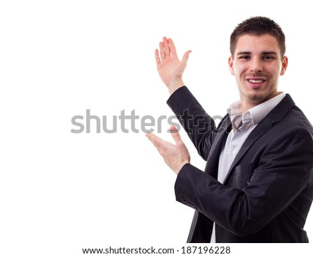 Young businessman giving a presentation  - stock photo