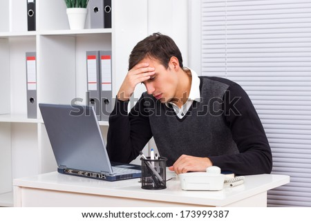 Young businessman got fed up of working,Depressed  businessman