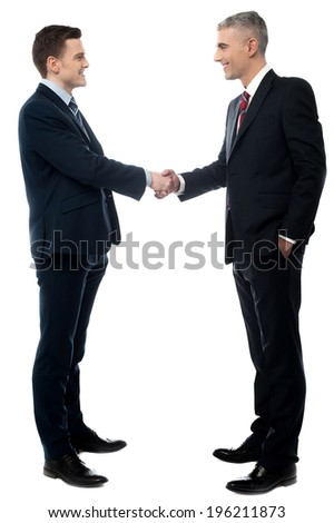 Young businessman handshaking on a white background