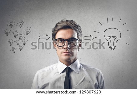young businessman has an idea - stock photo