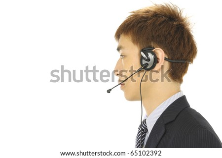young businessman head phones border