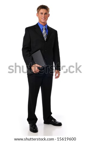 Young businessman holding a folder isolated on a white background - stock photo