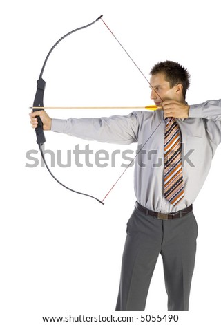 Young businessman holding bow and shooting to target. White background - stock photo