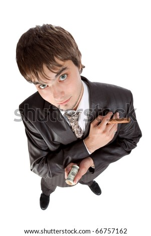 young businessman holding money and a cigar isolated on white - stock photo