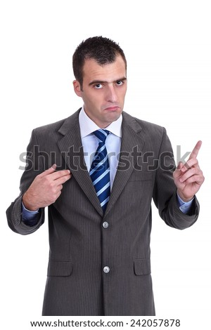 """Young  businessman in a gray suit rejecting the responsibility with a """"it wasn't me"""" gesture,  isolated on white - stock photo"""