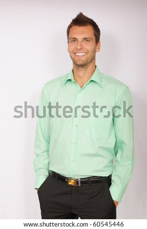 Young businessman in a green shirt