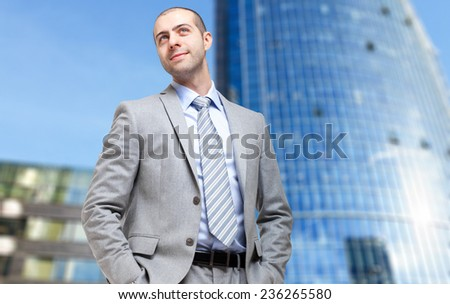 Young businessman in a modern business center - stock photo
