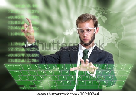 Young businessman in a virtual environment - stock photo
