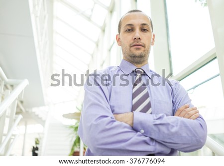 Young businessman in office building