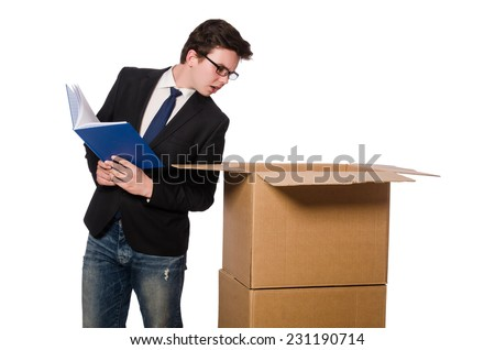 Young businessman in thinking out of box concept