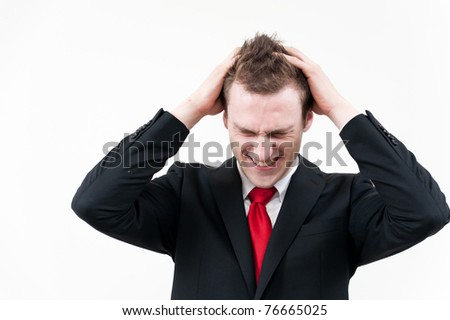 young businessman in trouble - stock photo