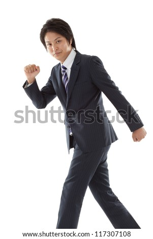 young businessman is walking