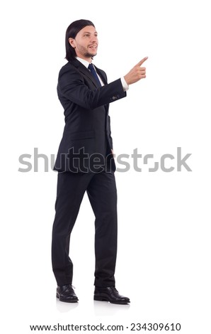 Young businessman isolated on the white background - stock photo