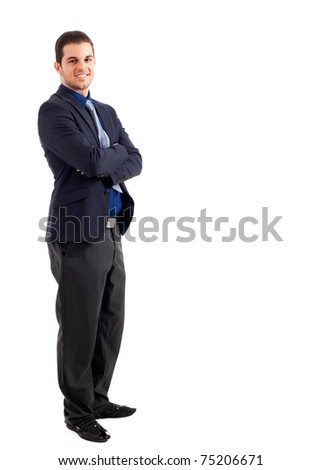 Young businessman isolated on white, full length