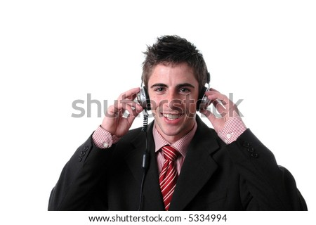 young businessman listen music