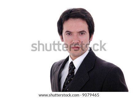 young businessman looking confident over white background