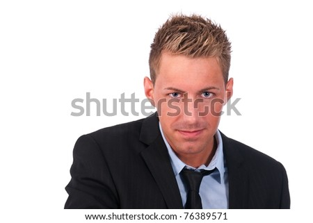 Young businessman looking provocative
