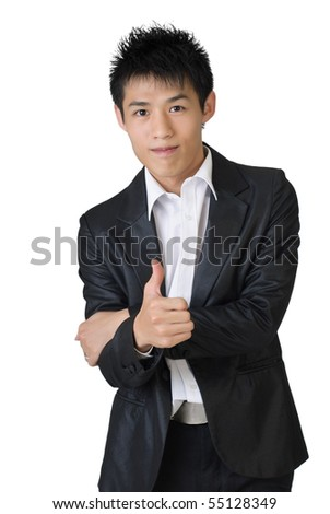 Young businessman of Asian showing thumbs up sign on white background. - stock photo