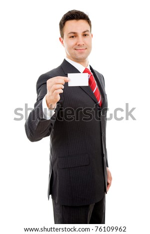 Young businessman offering business card on white background - stock photo