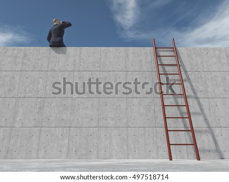 Young businessman on the edge of a wall looking up to horizon and a ladder beside him supported by wall. This is a 3d render illustration