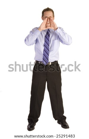 Young businessman on white backgound shouting - stock photo
