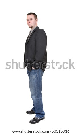 young businessman over white background