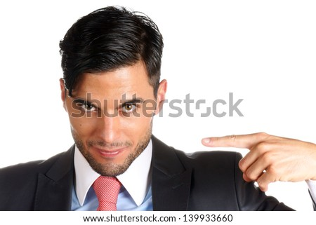 Young businessman pointing at himself over a white background. With copy space. Selective focus - stock photo