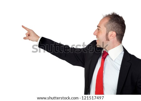 Young businessman pointing something with his hand isolated on white background